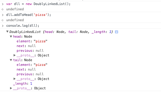 doubly linked list - add to head