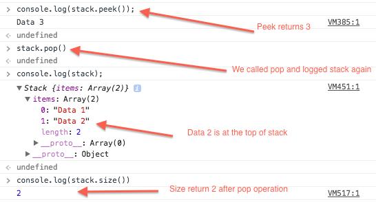 Javascript Stack - Peek, Pop and Size